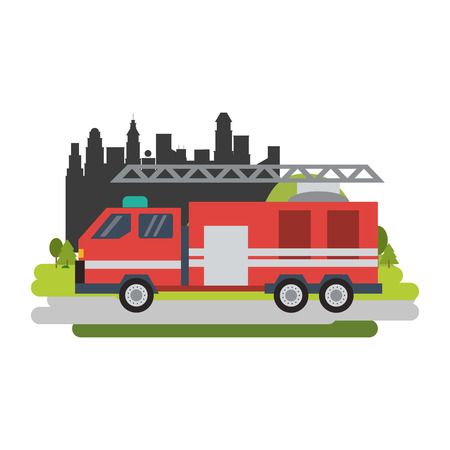 Firetruck vehicle isolated passing by city vector illustration graphic design Vectores