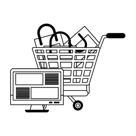 Online shopping cart with bags and computer screen vector illustration graphic design