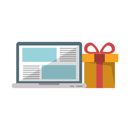 Laptop website browsing shopping with gift vector illustration graphic design  イラスト・ベクター素材