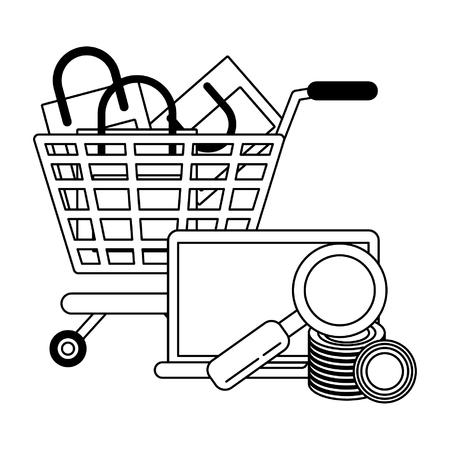 Online shopping cart with bags laptop money search vector illustration graphic design Ilustração