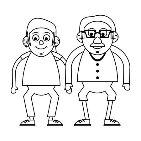 Elderly couple grandparents senior citizen with glasses vector illustration graphic design Ilustração