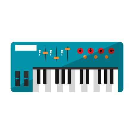 Modern music keyboard topview vector illustration graphic design Ilustração