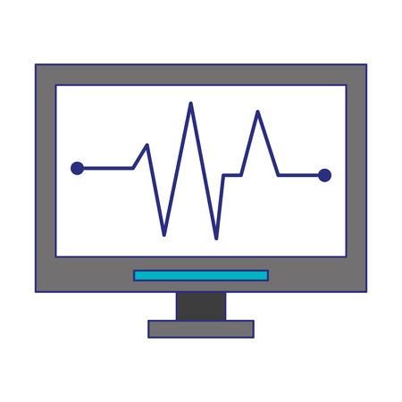 Heartbeat cardio monitor medical device vector illustration graphic design 向量圖像
