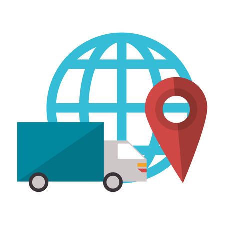 Delivery truck online order with location symbol vector illustration graphic design Illustration
