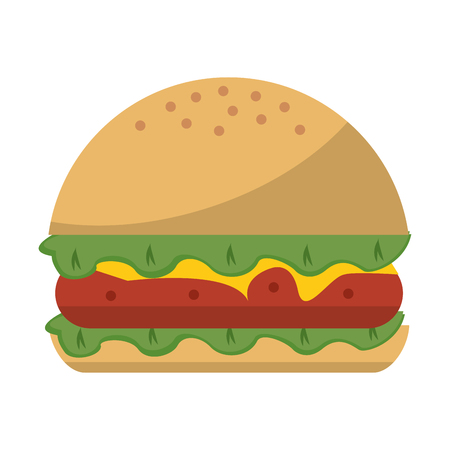 Hamburger fast food isolated vector illustration graphic design