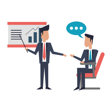 Businessmen meeting with statistics profits on whiteboard vector illustration graphic design