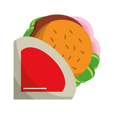 Fast food hamburger topview vector illustration graphic design Ilustração