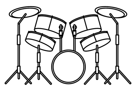 drums icon cartoon isolated black and white vector illustration graphic design
