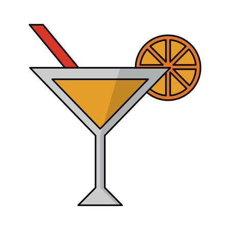 summer cocktail with orange ans straw cup vector illustration graphic design  イラスト・ベクター素材