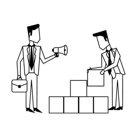 Business teamwork moving cubes avatar vector illustration graphic design