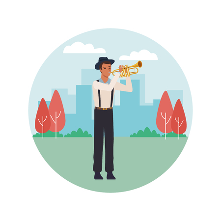 musician playing trumpet avatar cartoon character in the park cityscape round icon vector illustration graphic design Illusztráció
