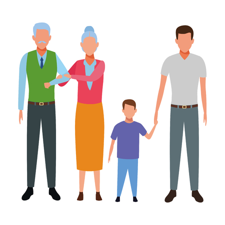 family avatar cartoon character grandparents father and child vector illustration graphic design vector illustration graphic design