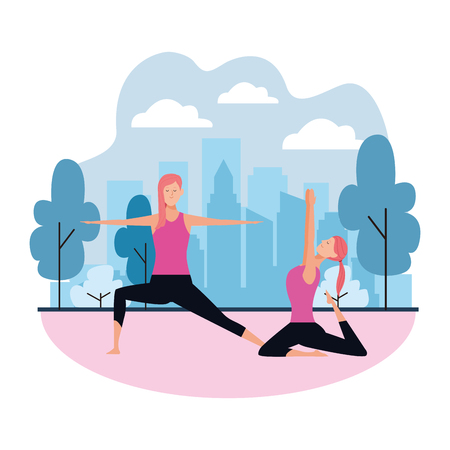 women yoga poses avatar cartoon character vector in the park with cityscape illustration graphic design Illustration