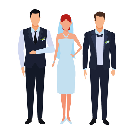 people dressed for wedding avatar cartoon character vector illustration graphic design Illustration