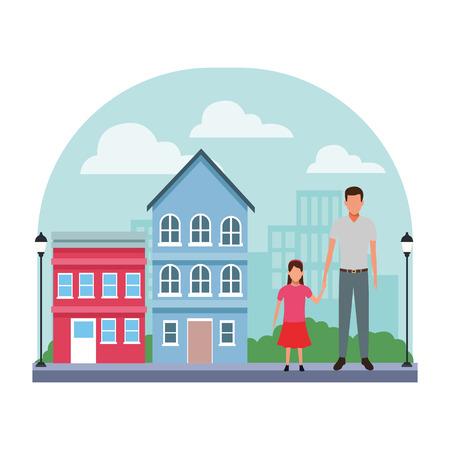 man and child avatar cartoon character   in the neighborhood cityscape scenery vector illustration graphic design Ilustração