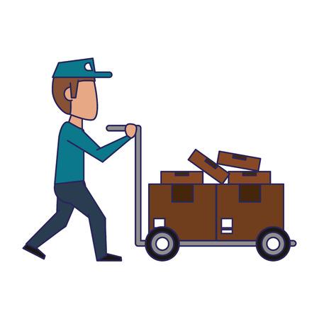 Courier poussant le diable avec des boîtes avatar vector illustration graphic design Vecteurs