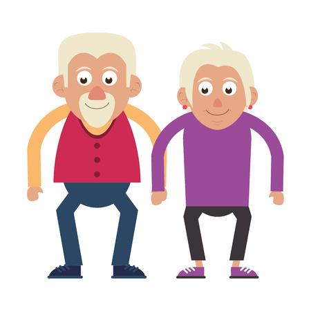 Coppia di anziani nonni anziano illustrazione vettoriale graphic design
