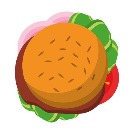 Fast food hamburger topview symbol vector illustration graphic design Illustration