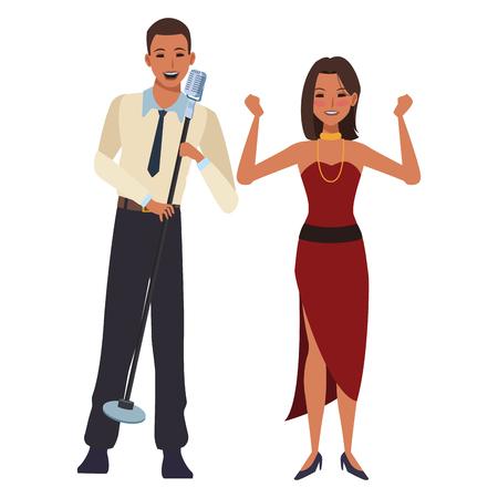 singer and dancer avatar cartoon character vector illustration graphic design Vector Illustration