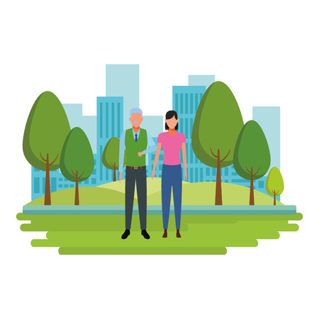 old man and young woman avatar cartoon character in the park cityscape vector illustration graphic design