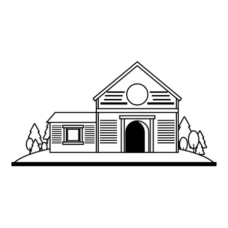 Farm house in nature scenery isolated vector illustration graphic design Vectores