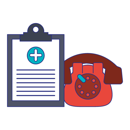 Medical healthcare equipment clipboard and telephone vector illustration graphic design