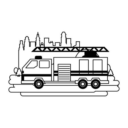 Firetruck vehicle isolated passing by city vector illustration graphic design Stock Illustratie