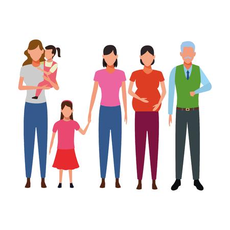 family avatar cartoon character grandparent pregnant children vector illustration graphic design
