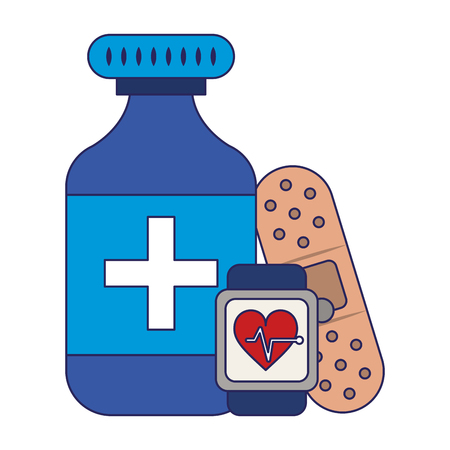 Medical healthcare elements and supplies vector illustration graphic design
