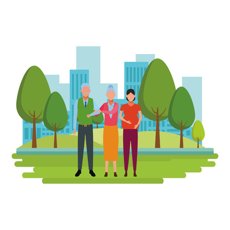 pregnant woman and elderly couple avatar cartoon character in the park cityscape vector illustration graphic design