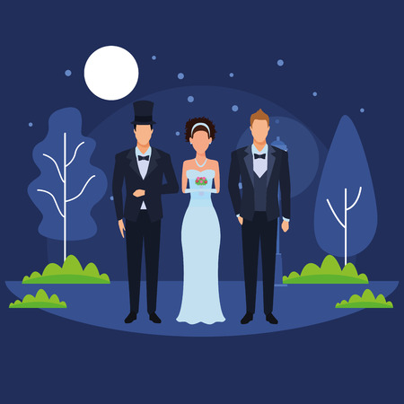 people dressed for wedding avatar cartoon character in the park at night vector illustration graphic design