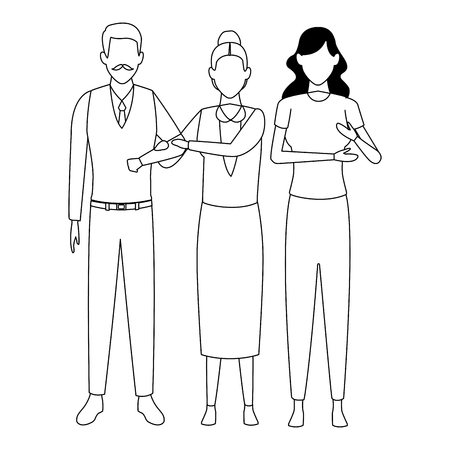 elderly couple and woman avatar cartoon character black and white vector illustration graphic design