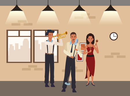 musician playing trumpet maracas and singing avatar cartoon character indoor rehearsal room vector illustration graphic design