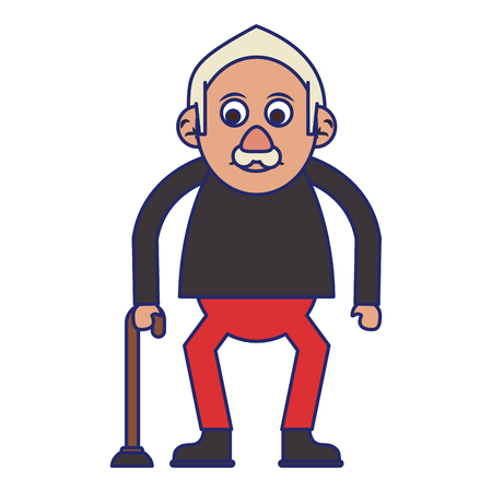 Elderly man grandfather with cane isolated isolated vector illustration graphic design