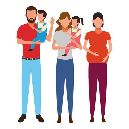 family avatar cartoon character pregnant children vector illustration graphic design