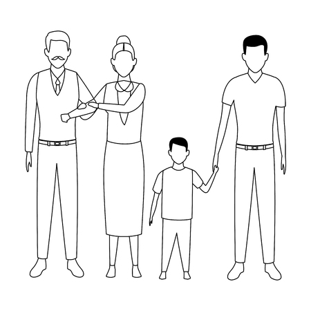 family avatar cartoon character grandparents father and child black and white vector illustration graphic design