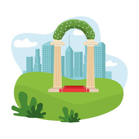 wedding altar icon in the park cityscape skyscraper vector illustration graphic design