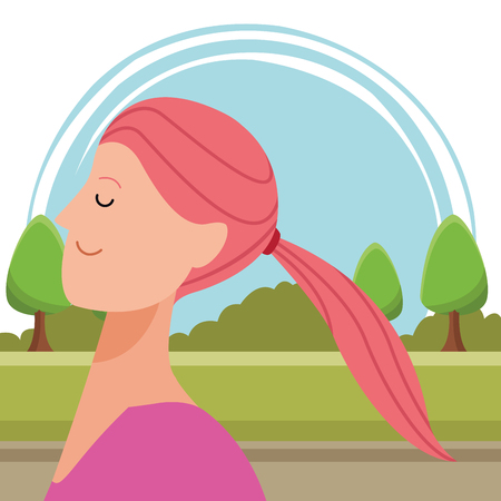 woman portrait avatar cartoon character with pony tail in the park vector illustration graphic design Standard-Bild - 123031007