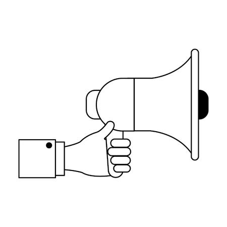 Businessman hand with bullhorn cartoon vector illustration graphic design