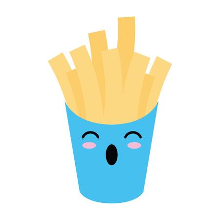 French fries box cute cartoon vector illustration graphic design Illustration