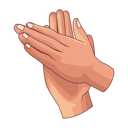 hands clapping icon cartoon vector illustration graphic design Vektorové ilustrace