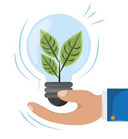 plant into a light bulb holding by hand icon cartoon vector illustration graphic design 向量圖像