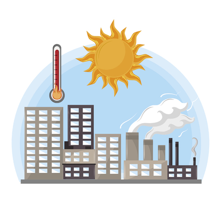 industrial factories with thermometer and sun icon cartoon vector illustration graphic design Illustration