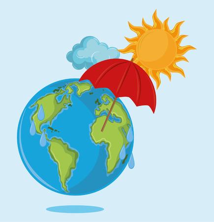 globe with umbrella and sun icon cartoon vector illustration graphic design