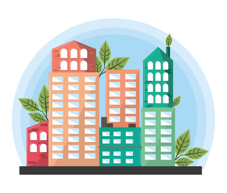 buildings with leaves icon cartoon vector illustration graphic design