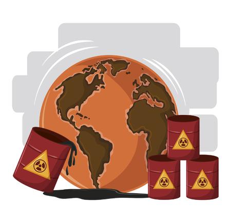 desert globe with hazardous waste icon cartoon vector illustration graphic design