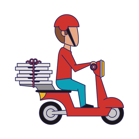 Courier driving scooter with pizzas vector illustration graphic design