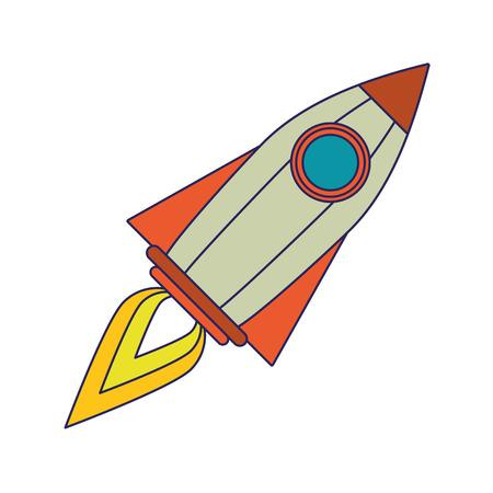 spaceship rocket flying isolated cartoon vector illustration graphic design