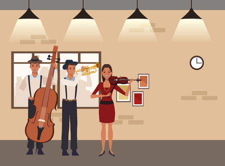 musician playing trumpet bass and violin avatar cartoon character indoor rehearsal room vector illustration graphic design