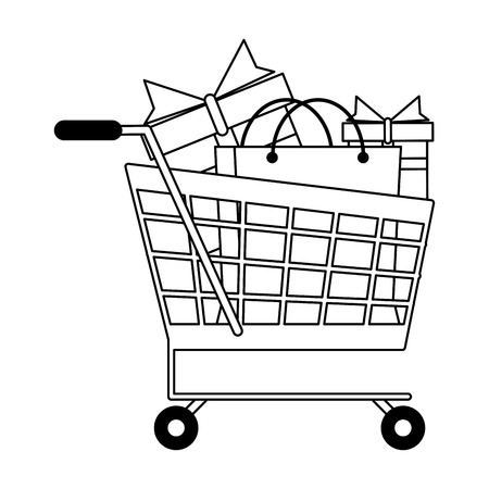 Shopping bag and gifts in cart vector illustration graphic design